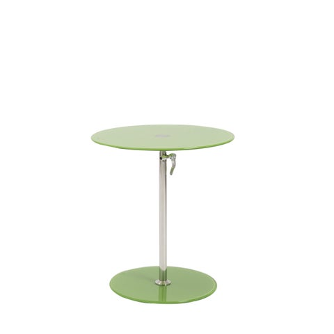 Euro Style Radinka Round Green Glass Side Table with Stainless Steel Base
