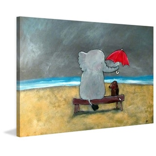 Marmont Hill - 'Elephant Umbrella' by Andrea Doss Painting Print on Wrapped Canvas