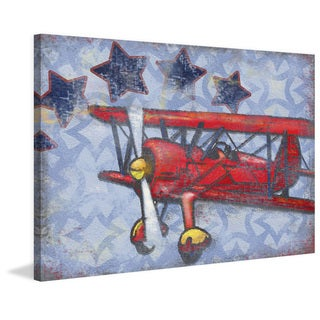 Marmont Hill - Handmade Biplane Stars Print on Wrapped Canvas