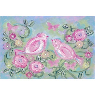 Marmont Hill - 'Birds in Garden' by Reesa Qualia Painting Print on Wrapped Canvas