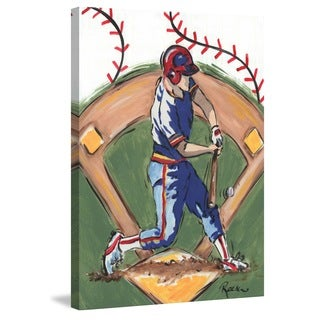 Marmont Hill - 'Baseball Player' by Reesa Qualia Painting Print on Wrapped Canvas