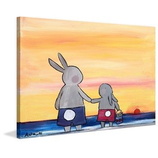 Marmont Hill - 'Andrea Beach Bunnies' by Andrea Doss Painting Print on Wrapped Canvas