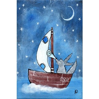 Marmont Hill - 'Bad Wolf's Boat' by Andrea Doss Painting Print on Wrapped Canvas