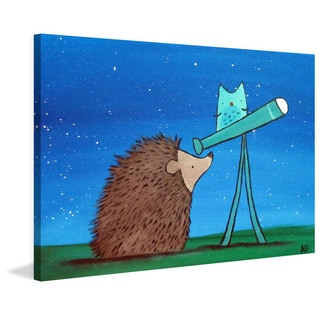 Marmont Hill - 'Hedgehog Stargazer' by Andrea Doss Painting Print on Wrapped Canvas