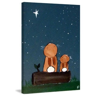 Marmont Hill - 'Stargazing Bunnies' by Andrea Doss Painting Print on Wrapped Canvas