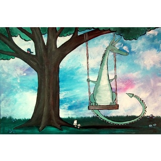 Marmont Hill - 'Dragon Swing' by Andrea Doss Painting Print on Wrapped Canvas
