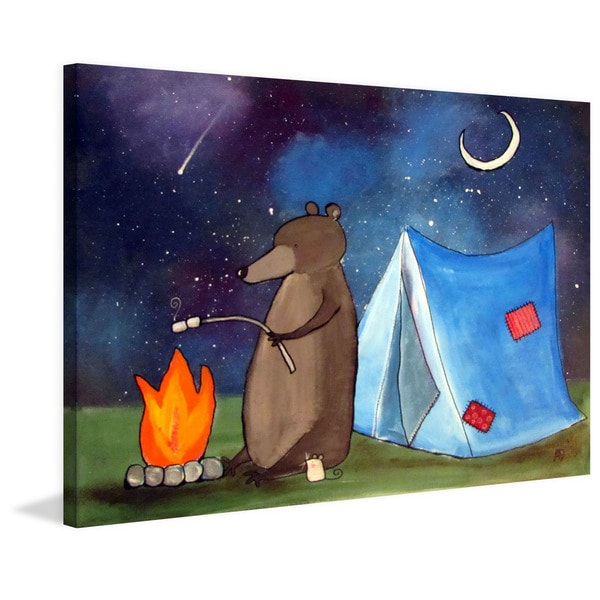 Marmont Hill - 'Toasting Marshmallows' by Andrea Doss Painting Print on Wrapped Canvas - Blue
