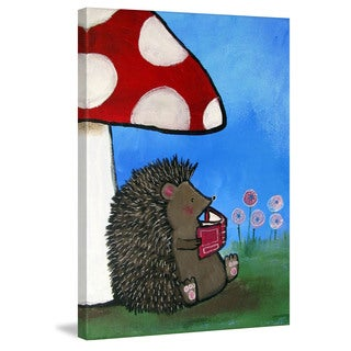 Marmont Hill - 'Reading Porcupine' by Andrea Doss Painting Print on Wrapped Canvas