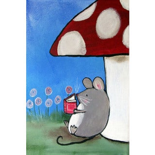 Marmont Hill - 'Book Mouse' by Andrea Doss Painting Print on Wrapped Canvas