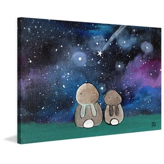 Marmont Hill - 'Starry Sky Bunnies' by Andrea Doss Painting Print on Wrapped Canvas