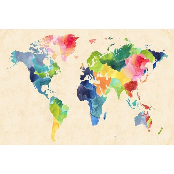 Marmont Hill Watercolor Map Bold by Keren Toledano Painting
