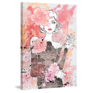 Marmont Hill - 'Floral Girl' by Loretta So Painting Print on Wrapped Canvas