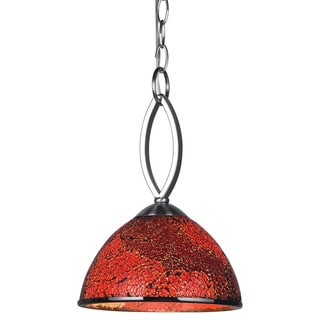 Woodbridge Lighting Alexis Nickel-finished Stainless Steel and Mosaic Red Glass 60-watt 1-light Mini Pendant Light