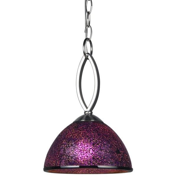 Woodbridge Lighting Alexis Purple Mosaic Stainless Steel Mini Pendant Light
