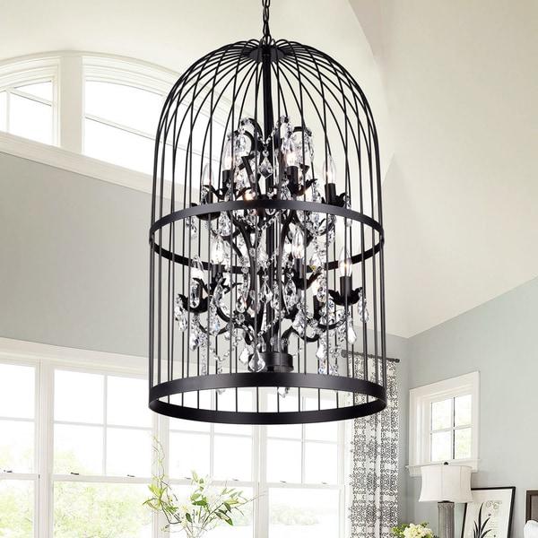 Manrosa Black 20-inch Cage Crystal Pendant