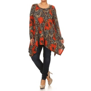 Women's Beige/Orange Plus-size Abstract Animal Print Tunic