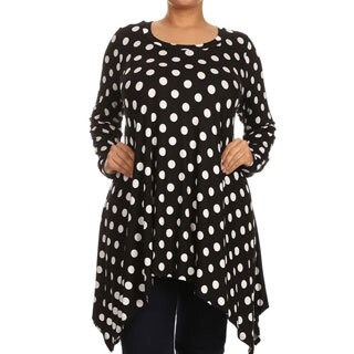 Women's Black and White Plus Size Polka Dot Jersey Knit Top