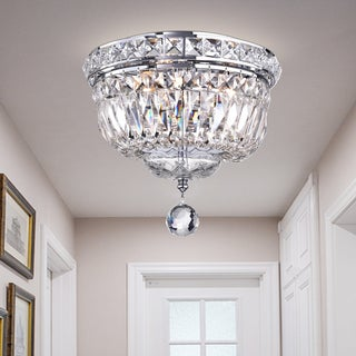 Sedguwa Clear Chrome and Crystal Basket Ceiling Lamp