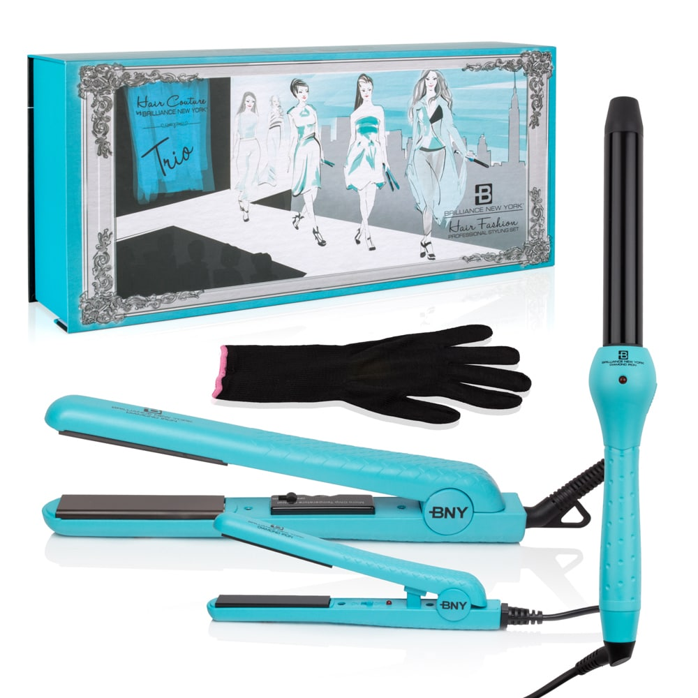 Brilliance New York Blue Ceramic Trio Set With 1 25 Inch Flat Iron 0 5 Inch Mini And 1 Inch Curling Iron Overstock 13884012