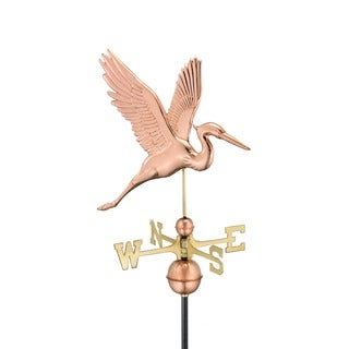 Graceful Blue Heron Pure Copper Weathervane by Good Directions