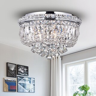 Chimory Chrome and Crystal 14-inch Round Ceiling Lamp