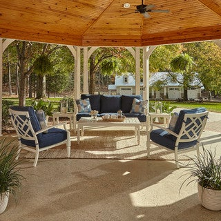 Made to Order Klaussner Outdoor Mimosa 6-piece White Aluminum Set with ClimaPlush Cushions in DEMO / INDI and BRYC