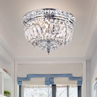 Landek Chrome 10-inch Crystal Ceiling Lamp