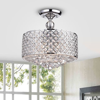 Jereon Chrome Cross Hatch Round Ceiling Lamp