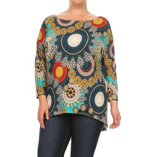 Women's Mixed Circle Multicolor Rayon and Spandex Plus-size Tunic