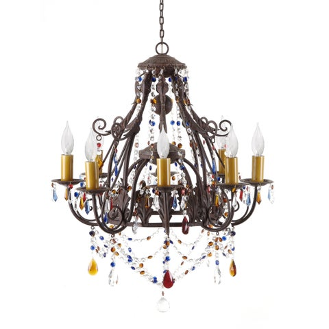 Multicolored Wrought Iron 8-light Leaf Chandelier