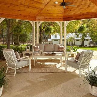 Made to Order Klaussner Outdoor Mimosa 6-piece White Aluminum Set with ClimaPlush Cushions in SAHA / GRAV and WEBS