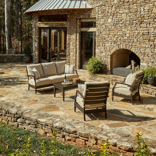 Made to Order Klaussner Outdoor Cerissa 4-piece Brown Aluminum Set with ClimaPlush Cushions in DEMO / WREN and CUT