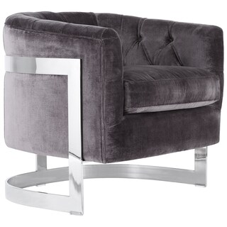 Safavieh Couture High Line Collection Zealand Shale Grey Velvet Chair