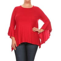 Women's Plus Size Solid Flutter Sleeve Tunic