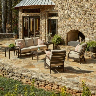 Made to Order Klaussner Outdoor Cerissa 6-piece Brown Aluminum Set with ClimaPlush Cushions in DEMO / WREN and JUL