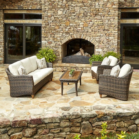Klaussner Outdoor Sycamore 4-piece Brown Wicker Set with ClimaPlush Cushions