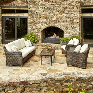 Made to Order Klaussner Outdoor Sycamore 4-piece Brown Wicker Set with ClimaPlush Cushions in SAHA / DUNE and CUTL