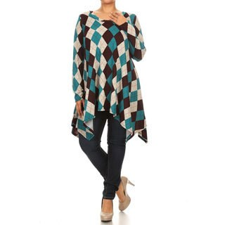 Women's Rayon and Spandex Plus-size Abstract Plaid-patterned Top|https://ak1.ostkcdn.com/images/products/13884076/P20522339.jpg?_ostk_perf_=percv&impolicy=medium
