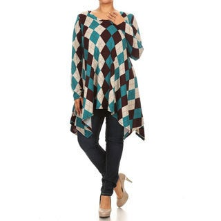 Women's Rayon and Spandex Plus-size Abstract Plaid-patterned Top