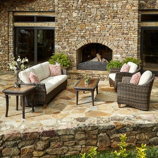 Made to Order Klaussner Outdoor Sycamore 6-piece Brown Wicker Set with ClimaPlush Cushions in SAHA / DUNE and AVAL