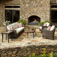 Klaussner Outdoor Sycamore 6-piece Brown Wicker Set with ClimaPlush Cushions