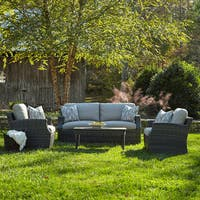 Klaussner Outdoor Cascade 4-piece Brown Wicker Set with ClimaPlush Cushions