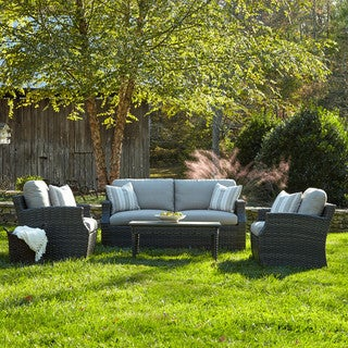 Made to Order Klaussner Outdoor Cascade 4-piece Brown Wicker Set with ClimaPlush Cushions in DEMO/STUC and CUTL /