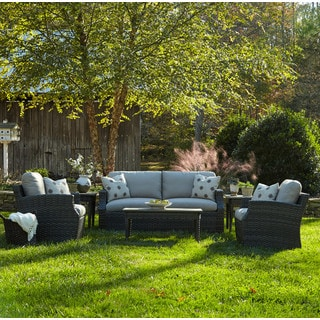 Klaussner Outdoor Cascade 6-piece Brown Wicker Set with ClimaPlush Cushions