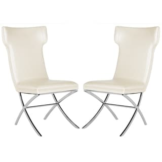 Safavieh Couture High Line Collection Cameron White Leather Side Chairs (Set of 2)