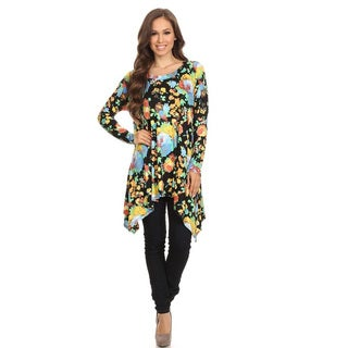Women's Multicolor Rayon and Spandex Floral Pattern Tunic