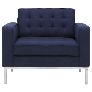 Safavieh Couture High Line Collection Davian Navy Wool Blend Club Chair