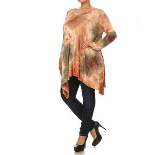 Women's Multicolored Rayon/Spandex Plus Size Tie Dye Tunic