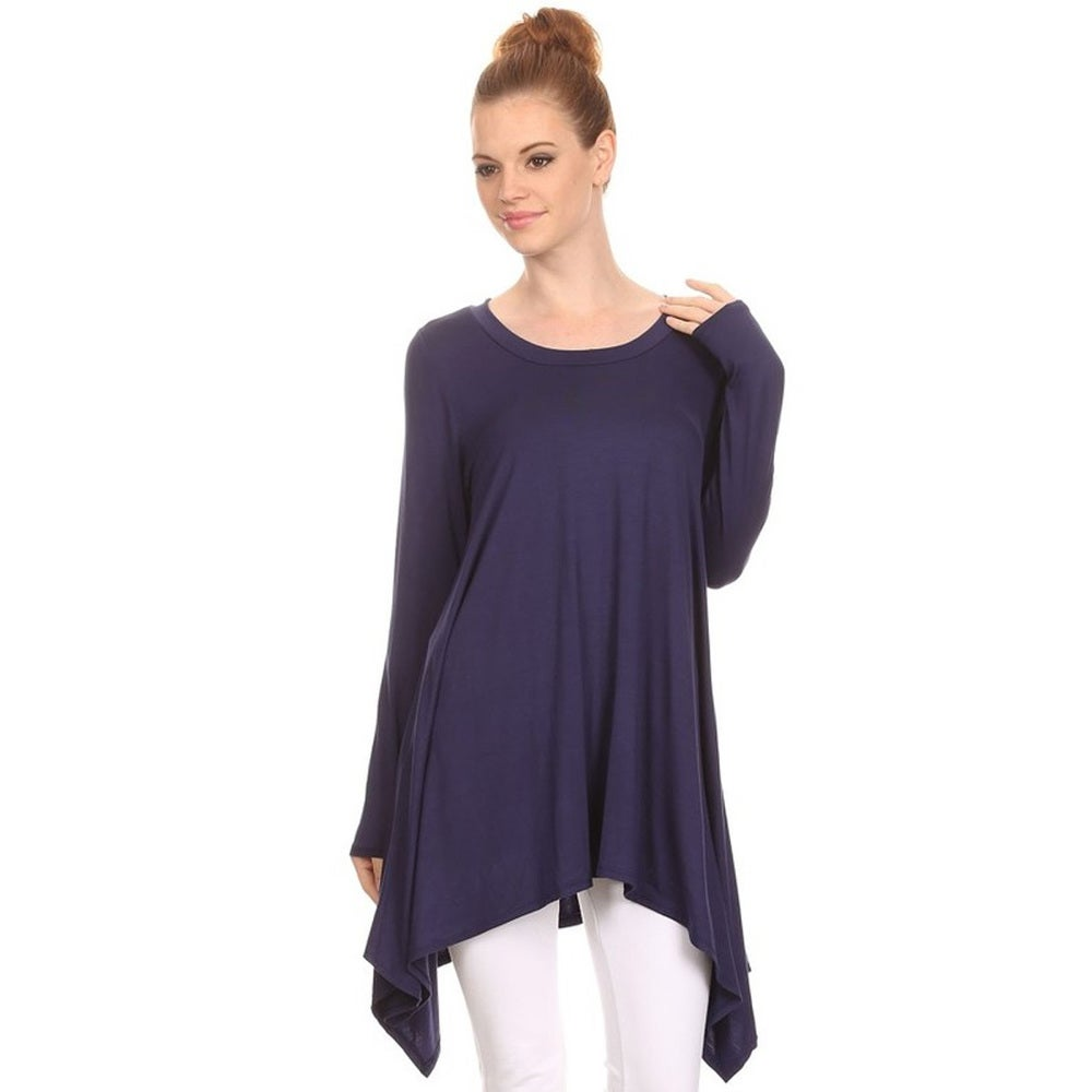 Womens Rayon and Spandex Solid Tunic