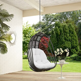 Modway Whisk Steel and Polyethylene Rattan Outdoor Patio Swing Chair With Sun Shade